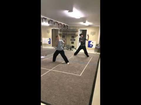 Alex And Luke working on 2nd degree black belt test kata