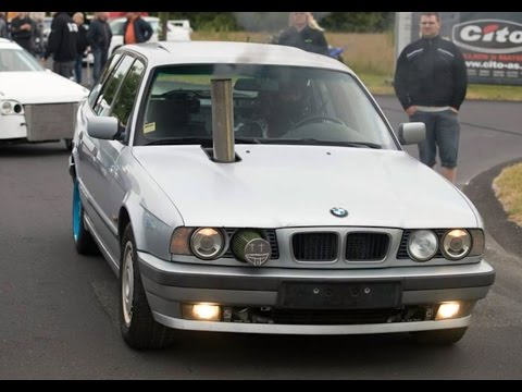 BMW 525 Turbo Diesel Exhaust Hood vs Honda Civic Eg6 - Drag race 2016 Striben-Randers