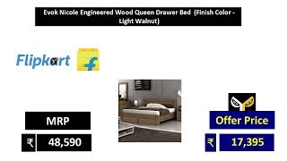 Evok Nicole Engineered Wood Queen Drawer Bed  (Finish Color - Light Walnut)