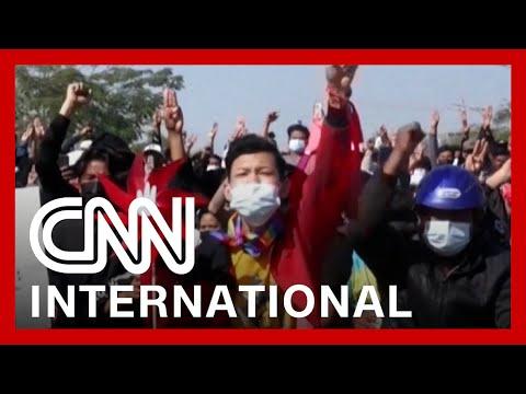 CNNi: Myanmar protesters clash with police, demand democracy
