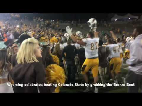 Wyoming celebrates win over Colorado State