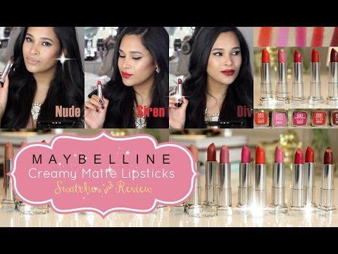 Maybelline Color Sensational Creamy Matte Lipstick Lip Swatches & Review - Misslizheart