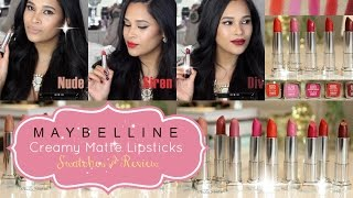 Maybelline Color Sensational Creamy Matte Lipstick Lip Swatches & Review - Misslizheart