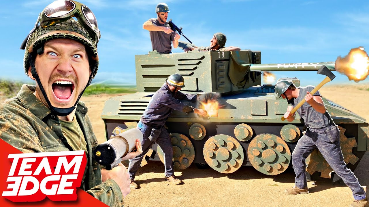 Soldiers vs TANK BATTLE! *We made a working TANK*