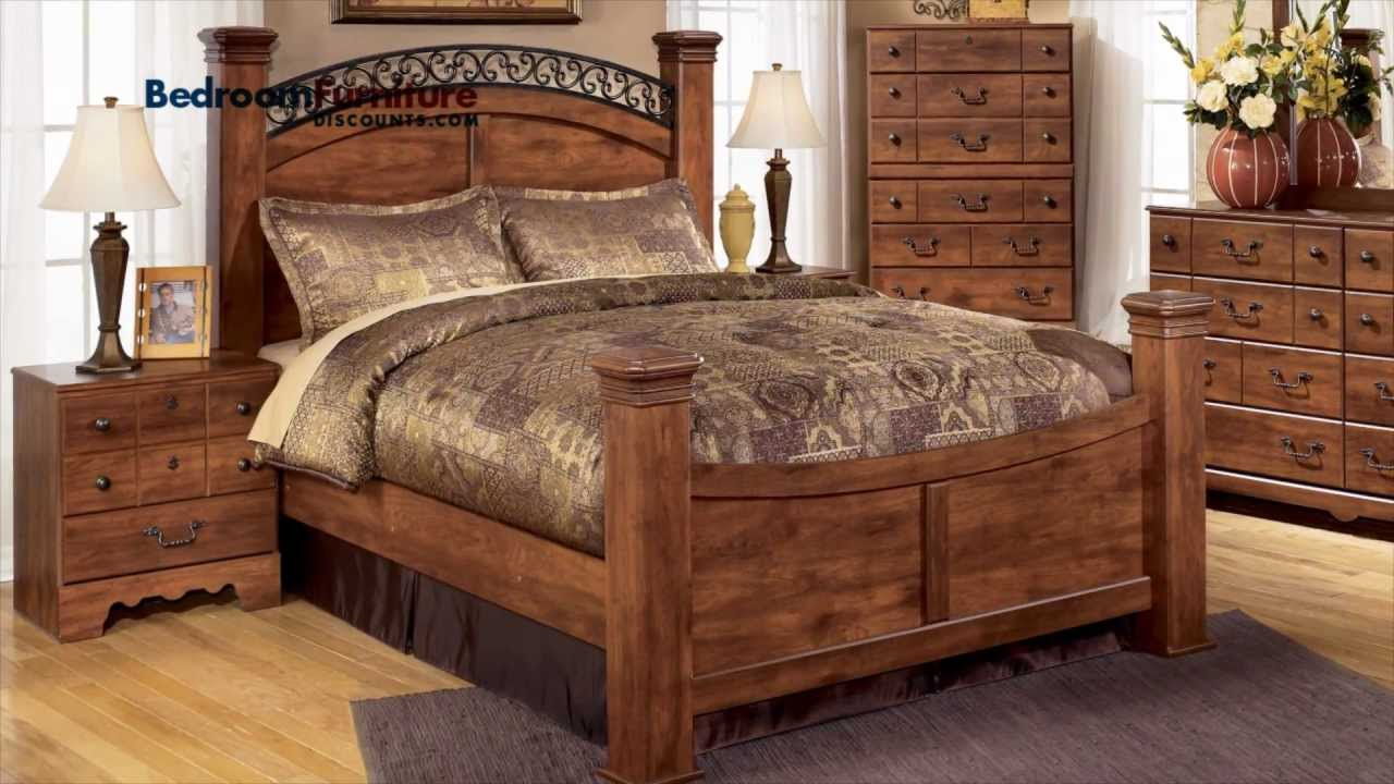 Ashley Timberline 4 Piece Poster Bedroom Set In Cherry