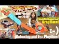 NEW Hot Wheels Race Crate Playset Unboxing! Hot Wheels Diecast DRAG RACING Playtime Fun!