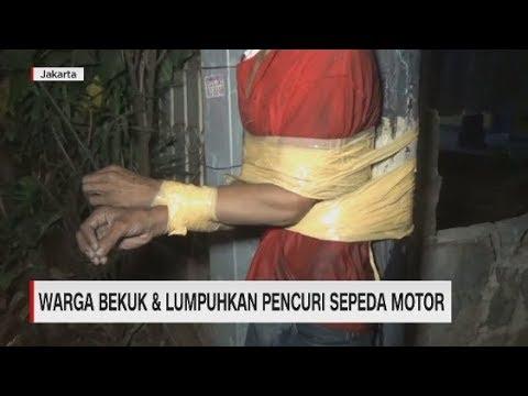 Warga Bekuk & Lumpuhkan Pencuri Motor Lalu Diikat di Tiang Listrik