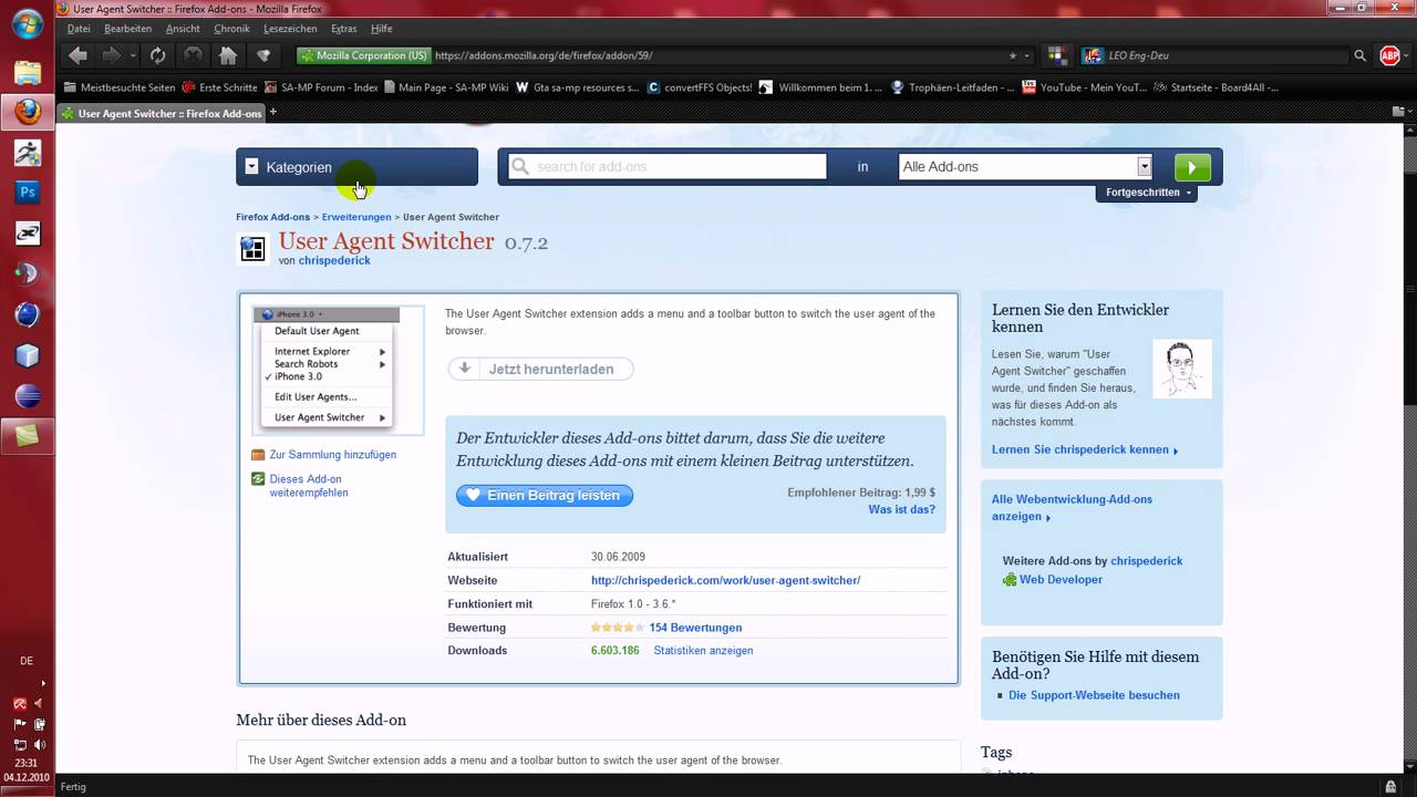 Firefox Addon  User Agent Switcher  YouTube