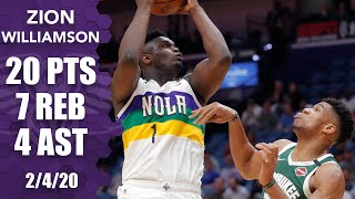 Zion rips ball away from Giannis in 20-point outing for Pelicans vs. Bucks | 2019-20 NBA Highlights