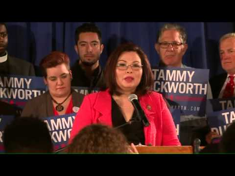 Tammy Duckworth addresses supporters after primary win