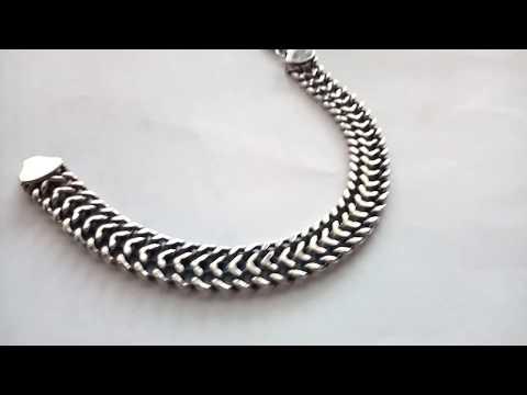 Широкий серебряный браслет мужской - купить двойное панцирное плетение из серебра 925 пробы.