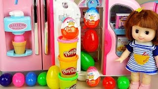 Baby Doll Refrigerator Kinder Joy Play Doh Surprise eggs and Pororo toys