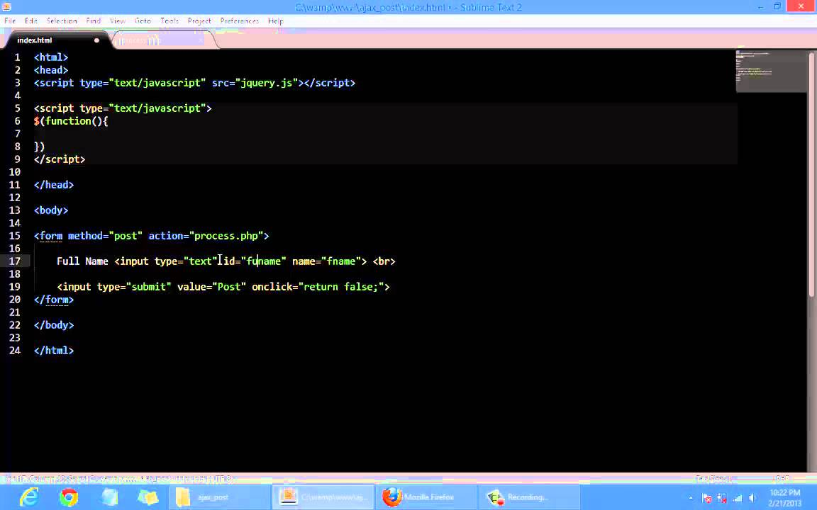 POST data using JQuery without reloading page - YouTube