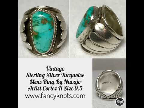 Vintage Sterling Silver Turquoise Mens Ring By Navajo Artist Cortez H Size 9.5