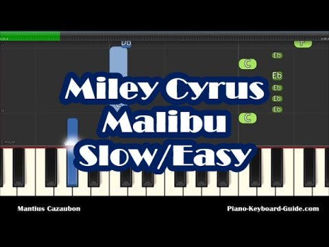 Miley Cyrus - Malibu SLOW Easy Piano Tutorial - How To Play