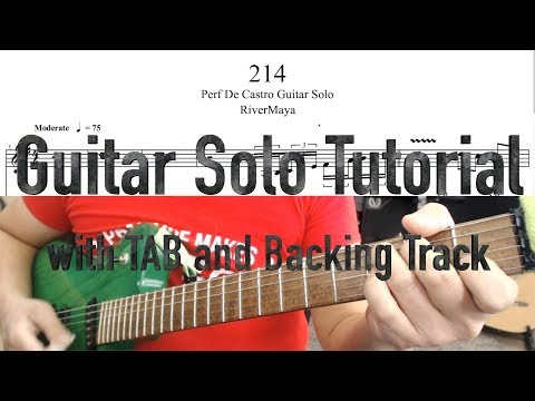 214 (RiverMaya) Guitar Solo Tutorial | with TAB and Backing Track | 10k subs special