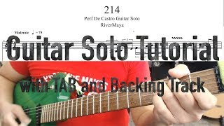 214 (RiverMaya) Guitar Solo Tutorial   with TAB and Backing Track   10k subs special