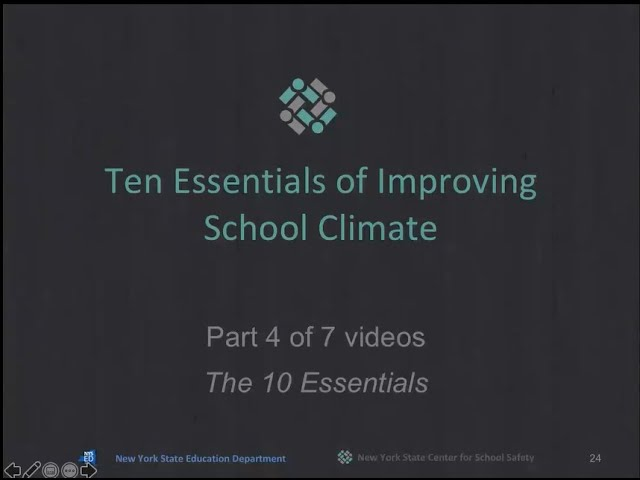 """The 10 Essentials for Improving School Climate"" Part 4 of 7"