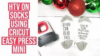 HEAT TRANSFER VINYL ON SOCKS USING CRICUT EASY PRESS MINI | 7TH DAY OF CRAFTMAS