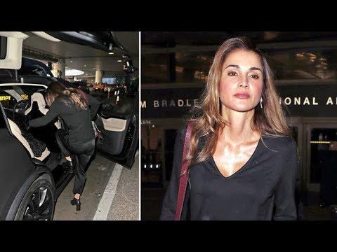 Queen Rania Of Jordan Hops Into A Matte Black Tesla Upon Arrival In Los Angeles