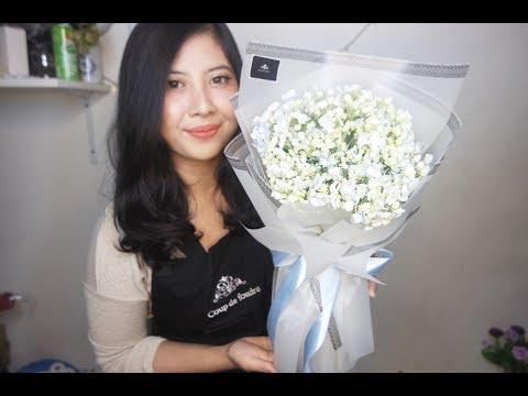 Cara Membuat Buket Bunga Ala Korea / Korean Flower Bouquet Tutorial