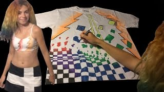 Drawing on Shirt & Bra with Sharpie Fabric Markers - Time Lapse