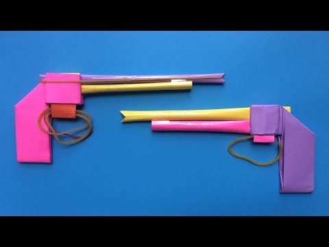 How to make a paper gun with rubber bands | Easy paper gun with rubber bands