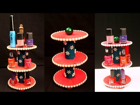 How to recycle old CDs into beautiful nail polish holder  - Best out of waste ideas from old cds