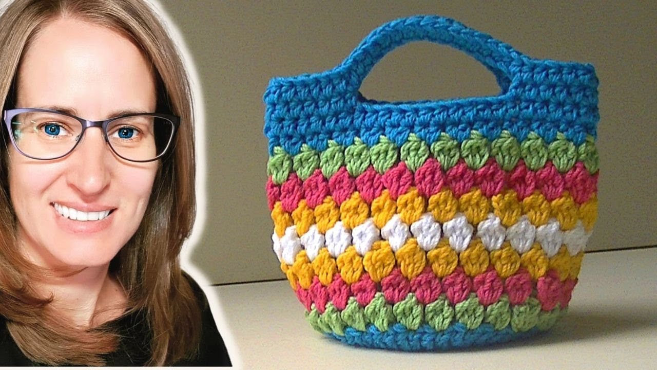 Pinterest Crochet Bags : Cluster Stitch Bag Crochet Tutorial - Ideas for hat - YouTube