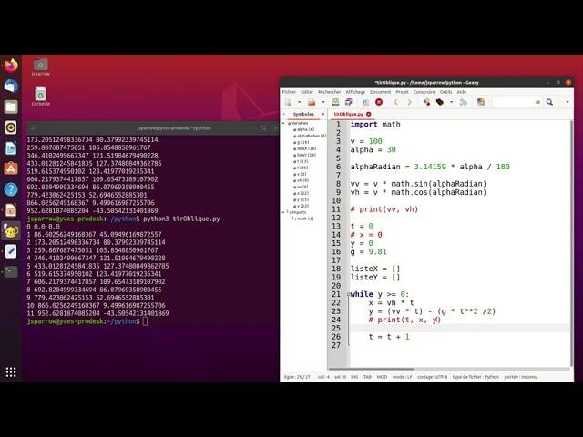 Tir oblique: simulation en langage Python (2/3)