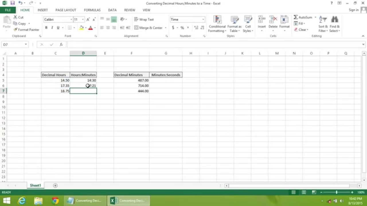 Excel 2013 Tutorial How To Convert Decimal Hours Minutes To A