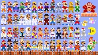 Super Mario Odyssey - All 8-Bit Mario Costumes & Hats (DLC Included). ᴴᴰ