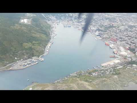 Scenic approach and arrival into St. John's International airport on Air Canada Jazz