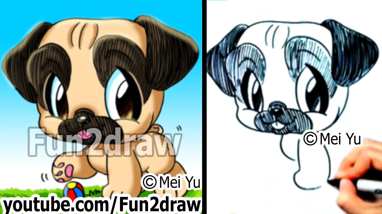 pug puppy how to draw a dog fun things to draw fun2draw