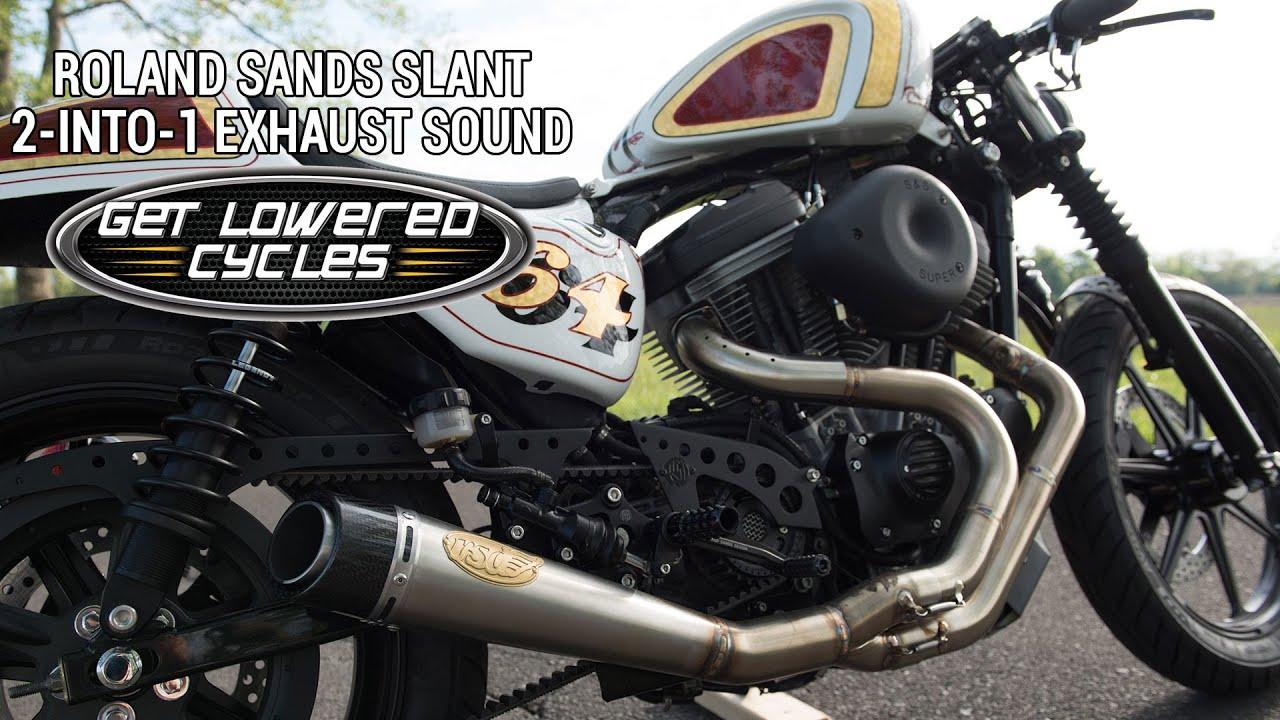 roland sands slant exhaust sound on harley sportster getlowered com