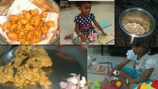 My first Daily routine as homemaker in Tamil/kitchen cleaning/evening snacks/Night dinner//kids time