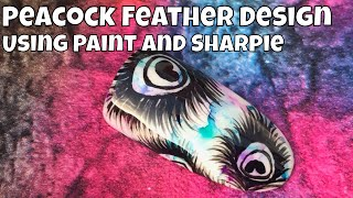 Peacock Feather Design using Acrylic Paint and Sharpies