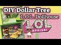 DIY Dollar Tree LOL SURPRISE DOLL HOUSE | Wood Dollhouse Miniature Furniture