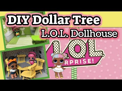 DIY Dollar Tree LOL SURPRISE DOLL HOUSE | Wood Dollhouse Miniature Furniture