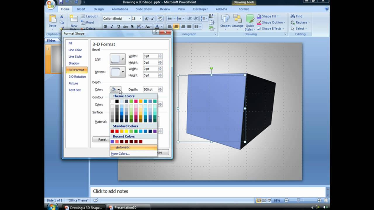 Draw a 3d powerpoint shape youtube 3d drawing website