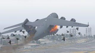 C-17 Globemaster Crashes Immediately After Takeoff Due To Bird Strike [XP11]