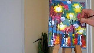 Как нарисовать вечерний пейзаж.Уроки живописи и рисования. Акрил. Техника.Ч.2. Demo. Tutorial.