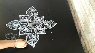 Easy and simple rangoli design..6 to 6 dots..freehand design with dots...