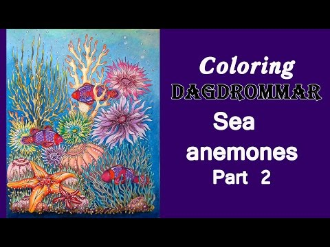 Colouring in 'Dagdrommar' with Prismacolor pencils. Sea anemones. Part 2 / Раскраска-антистресс