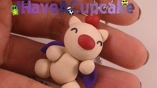 Polymer Clay Necklace - Moogle from Final Fantasy