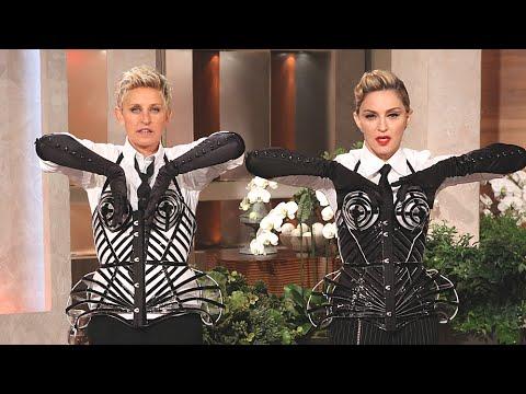 Madonna teaches Ellen how to vogue (Ellen dons Madonna's corset)