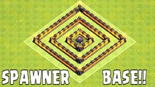 Clash Of Clans - CAULDRON SPAWNER BASE SPEED BUILD!! ( Monie trap defense troll)
