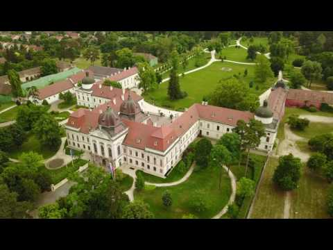 Royal Palace of Gödöllő from above - Hungary 4K