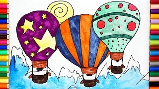How To Draw Hot Air Balloon For Kids - Coloring Pages For Kids
