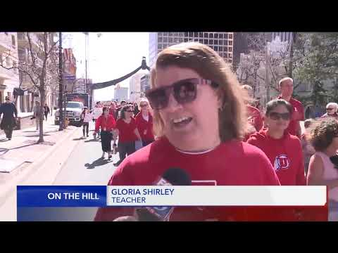 Teachers march to the Utah State Legislature to demand more education funding